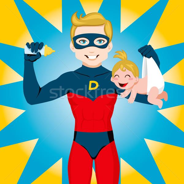 Süper kahraman baba süper kahraman Stok fotoğraf © Kakigori