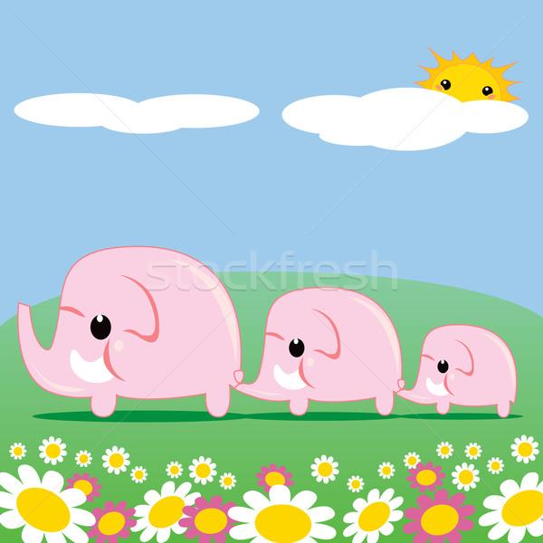 Cute Pink Elephants Stock photo © Kakigori