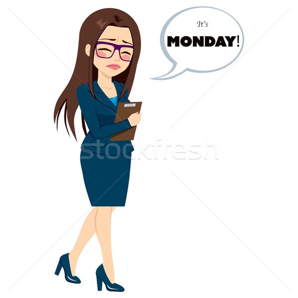 Monday Sad Walking Businesswoman Stock photo © Kakigori
