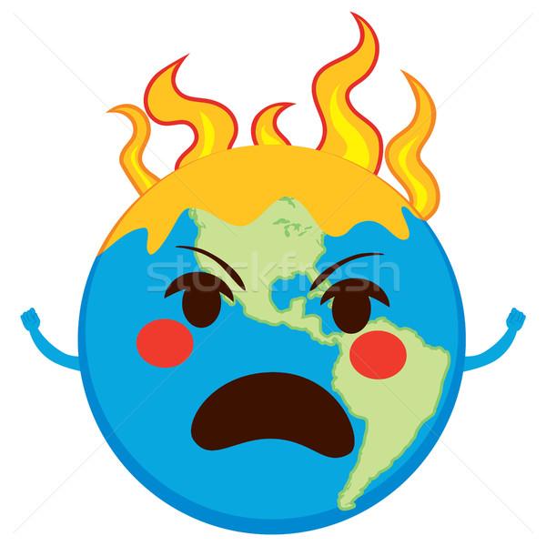 Opwarming van de aarde karakter boos aarde planeet vlammen Stockfoto © Kakigori