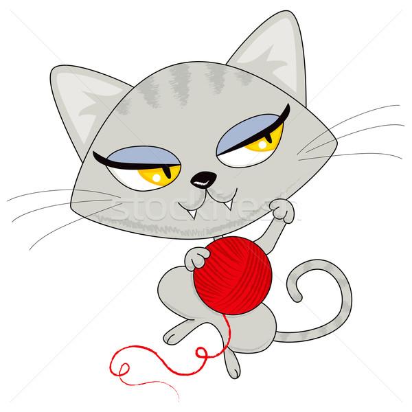 Stockfoto: Kat · spelen · garen · cute · kitten · Rood