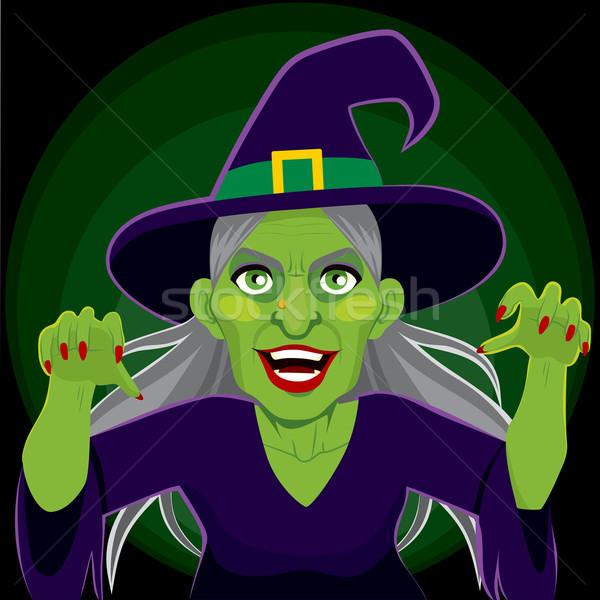 Lol assustador bruxa escuro velho verde Foto stock © Kakigori