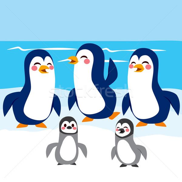 Funny Penguins Antarctica Stock photo © Kakigori