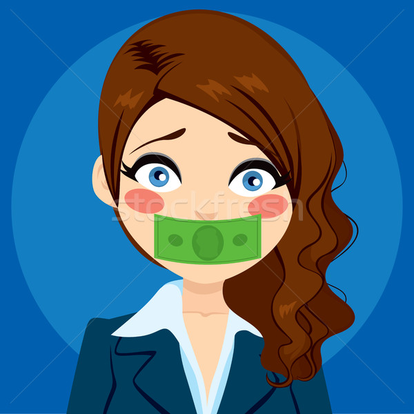 Stock photo: Businesswoman Silenced With Money