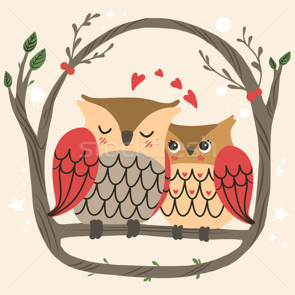 Owl Couple Branch Stock photo © Kakigori