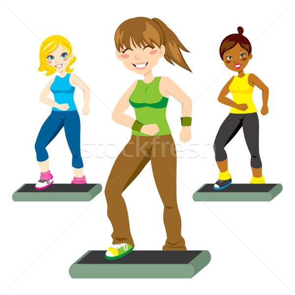 Kroki trzy atrakcyjny kobiet szczęśliwie Zdjęcia stock © Kakigori
