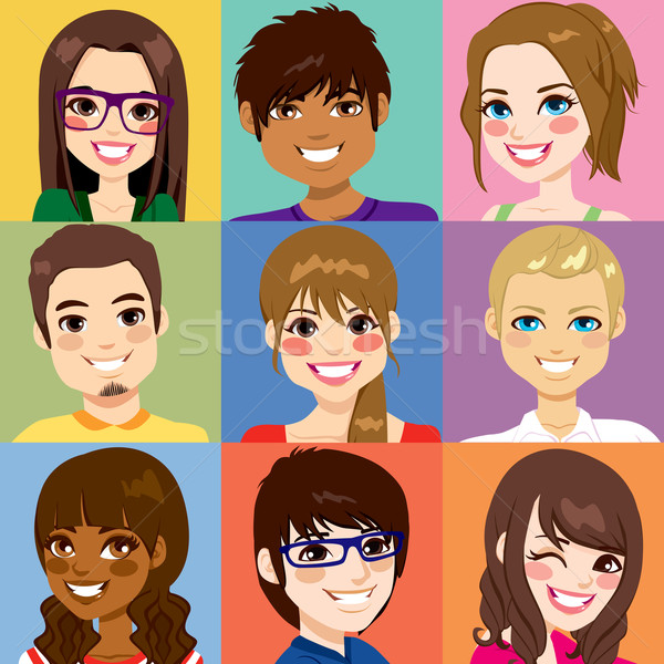Stock photo: Diverse Young People Faces