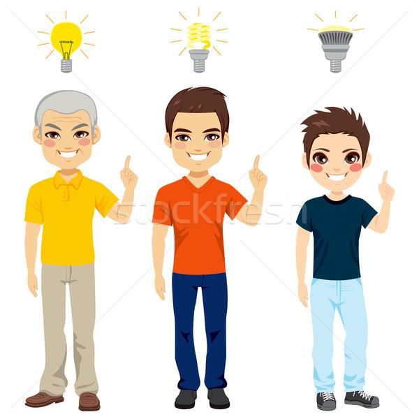 Three Generation Idea Light Bulb Stock photo © Kakigori