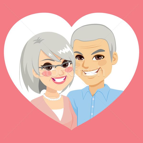 Senior Valentijn echtpaar hart dag Stockfoto © Kakigori