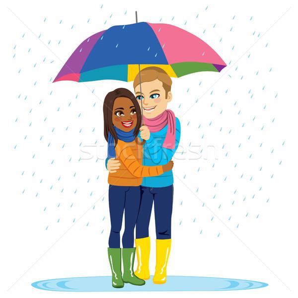 Esik az eső romantikus pár fiatal átkarol eső Stock fotó © Kakigori