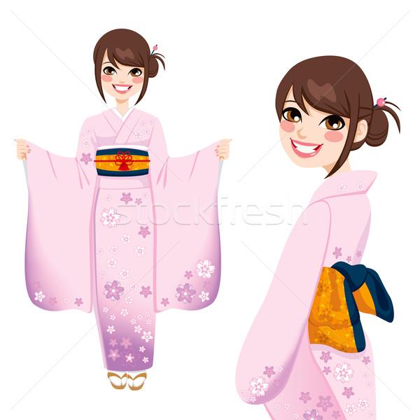 Japanese Woman in Pink Kimono Stock photo © Kakigori