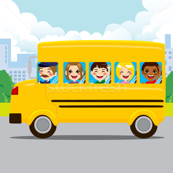 Gyerekek lovaglás iskolabusz boldog sofőr citromsárga Stock fotó © Kakigori