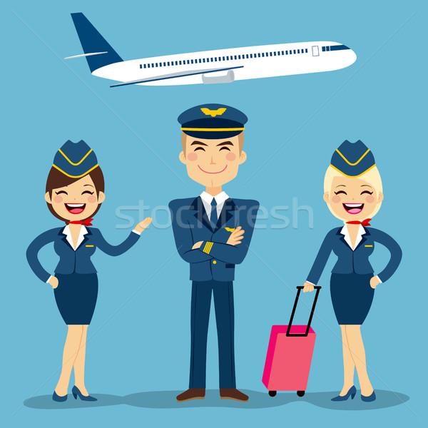 Légi közlekedés legénység profi nő férfi szolgáltatás Stock fotó © Kakigori