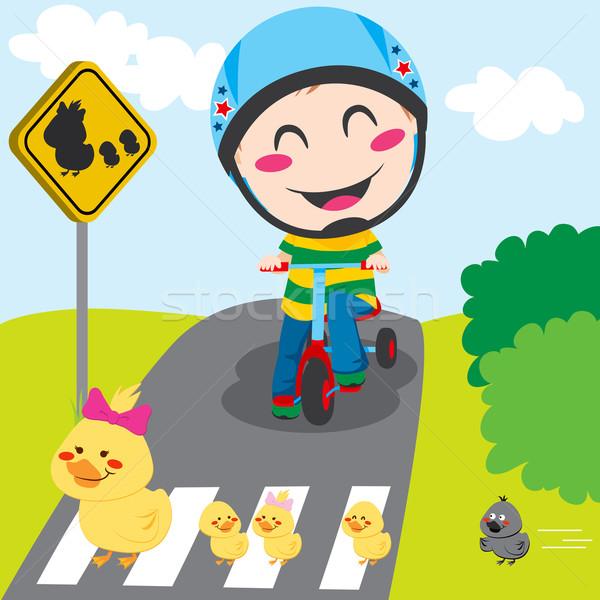 Stok fotoğraf: Erkek · üç · tekerlekli · bisiklet · bekleme · aile · bebek · mutlu