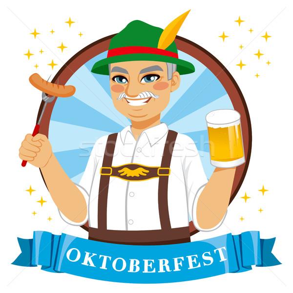 Oktoberfest piwa człowiek starszy kubek Zdjęcia stock © Kakigori