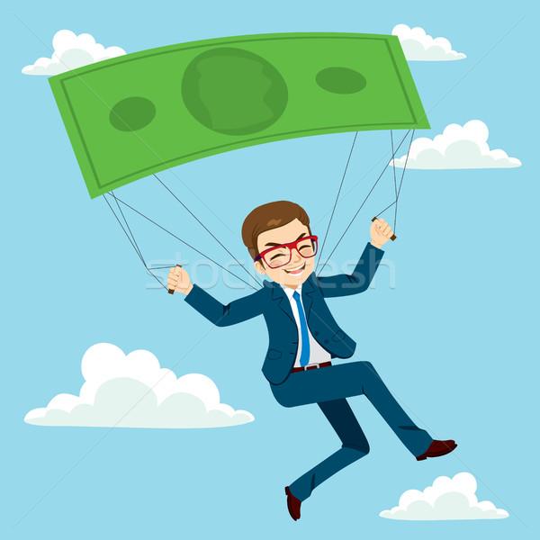 Empresário pára-quedas feliz voador sucesso Foto stock © Kakigori