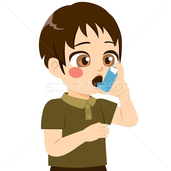 Fiú aranyos kicsi légzési probléma gyógyszer Stock fotó © Kakigori