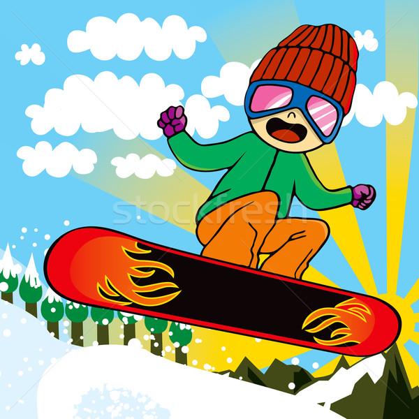 Stockfoto: Actief · kid · jonge · brand · snowboard