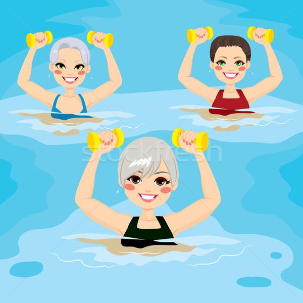 Starszy siłowni hantle mała grupa kobiet Zdjęcia stock © Kakigori