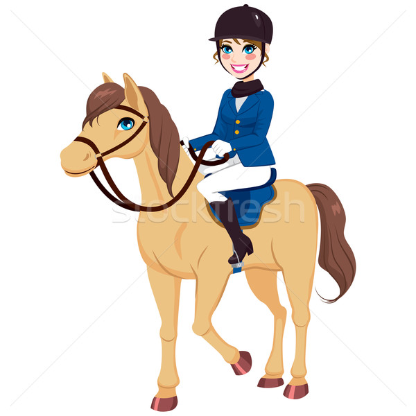Equestrian Jockey Girl With Horse Stock photo © Kakigori