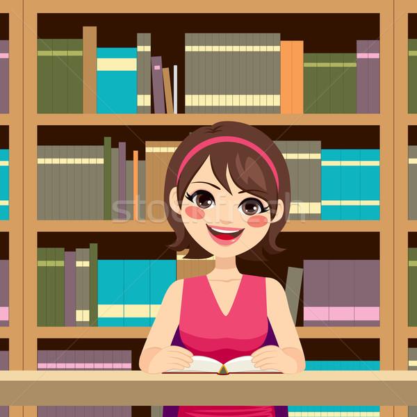 Woman Studying Library Stock photo © Kakigori