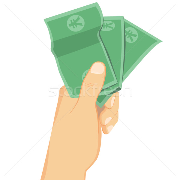 Masculina mano yen billetes Foto stock © Kakigori