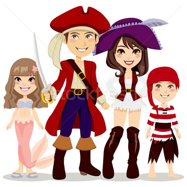 海賊 家族 4人 祝う ハロウィン 休日 ストックフォト © Kakigori