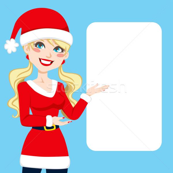 Kerstman blond mooie blonde vrouw kleding tonen Stockfoto © Kakigori