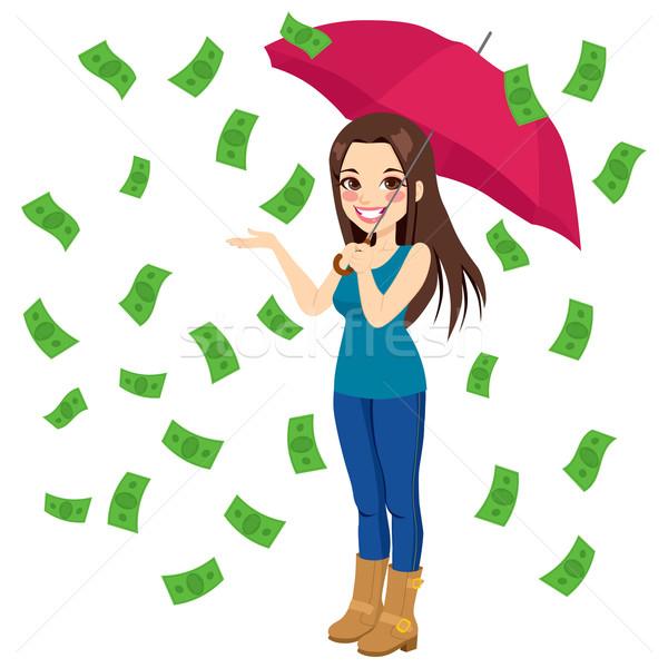 Esik az eső pénz számlák gyönyörű barna hajú nő Stock fotó © Kakigori
