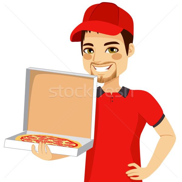 Pizza Delivery Man Holding Box Stock photo © Kakigori