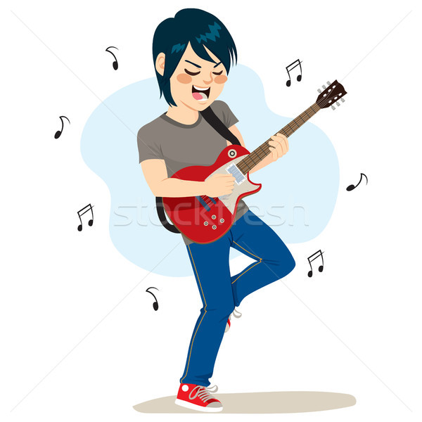 Boy Playing Rock Music Stock photo © Kakigori