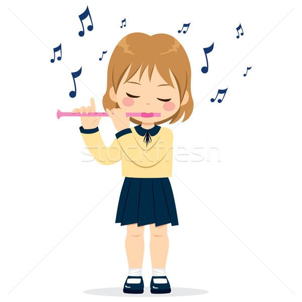 Menina jogar flauta jovem bonitinho little girl Foto stock © Kakigori