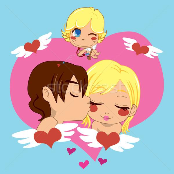 Valentin nap szeretet fiú csók lány valentin nap Stock fotó © Kakigori