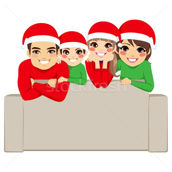 Karácsony családi portré boldog család nap pózol portré Stock fotó © Kakigori
