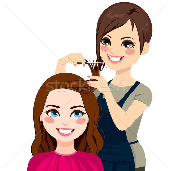 Hairdresser Cutting Fringe Stock photo © Kakigori