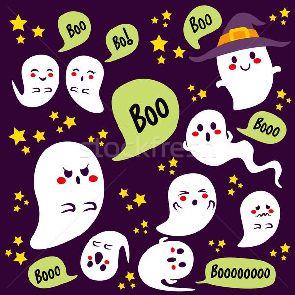 Halloween fantasmas bonitinho diferente texto Foto stock © Kakigori