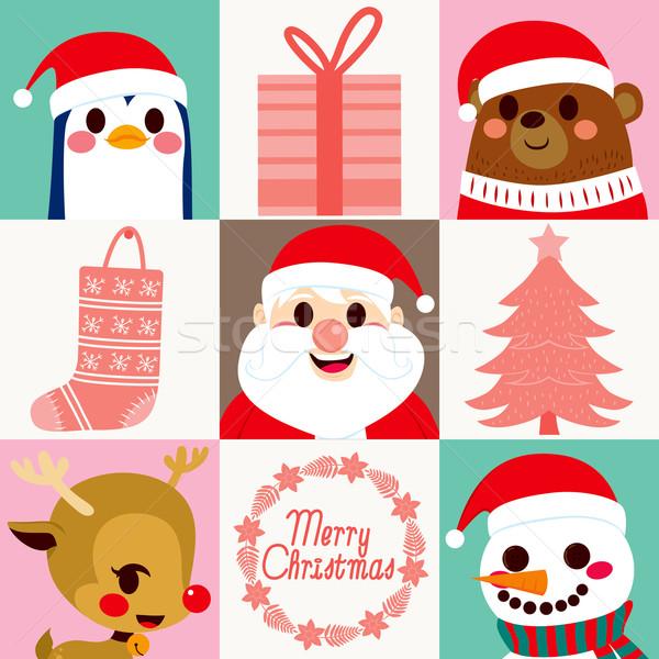 Foto stock: Navidad · elementos · tarjetas · cute · papá · noel