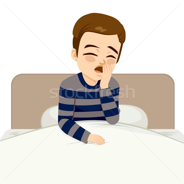 Waking Up Boy Yawning Stock photo © Kakigori