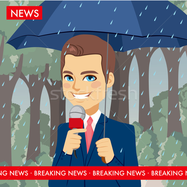 Esik az eső időjárás hírek riporter jóképű fiatal Stock fotó © Kakigori
