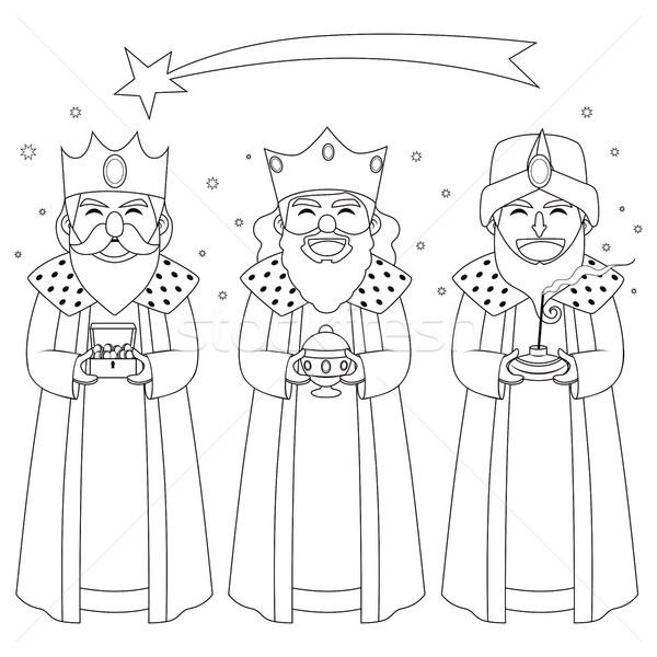 Três reis linha arte monocromático ilustração mão Foto stock © Kakigori