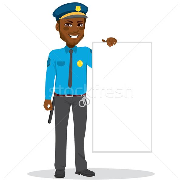 полицейский афроамериканец Постоянный белый Сток-фото © Kakigori