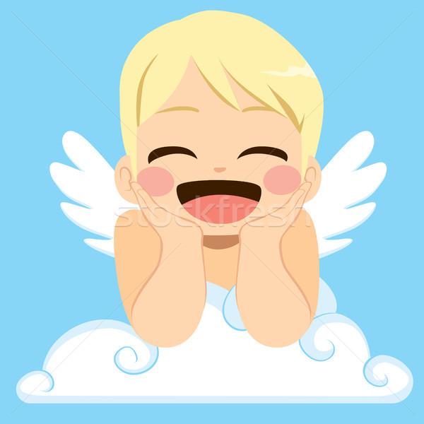 ángel nube cute pequeño feliz alas Foto stock © Kakigori