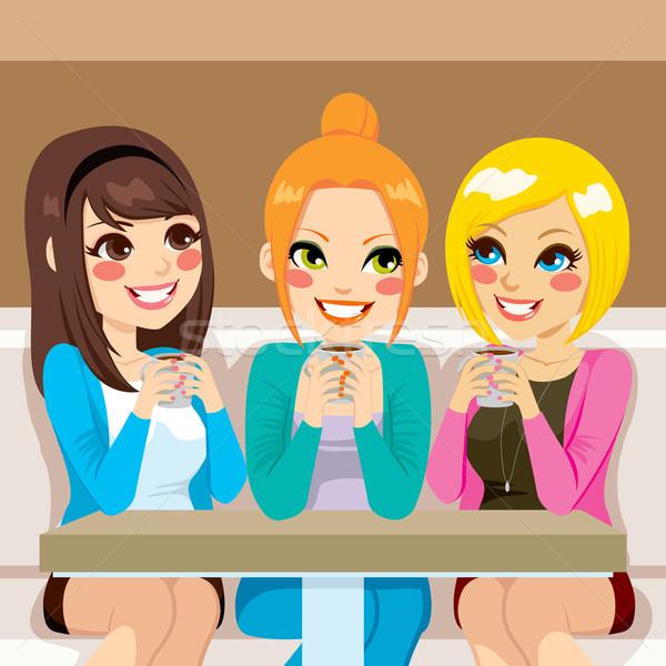 женщины говорить кофейня три красивой дружественный Сток-фото © Kakigori