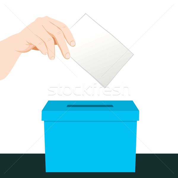 El oylama kâğıt mavi kutu Stok fotoğraf © Kakigori