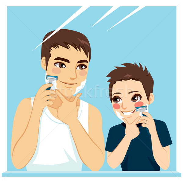 Father Teaching Son Shaving Stock photo © Kakigori