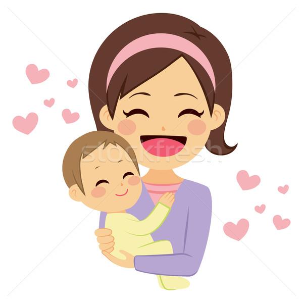 Foto stock: Feliz · mãe · bebê · jovem · bonitinho