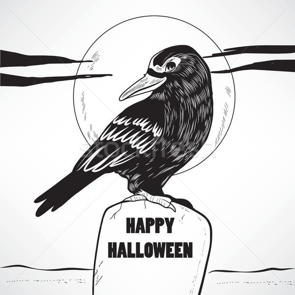 Karga halloween mezar siyah mutlu metin Stok fotoğraf © Kakigori