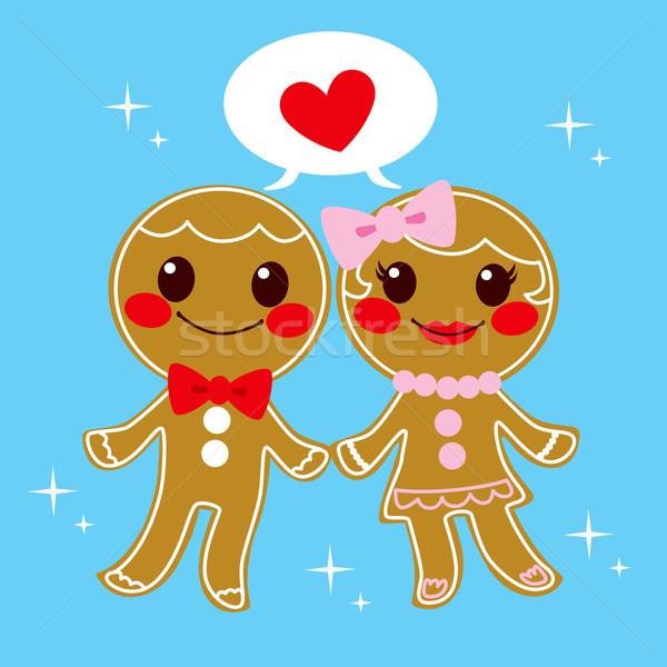 Zencefilli çörek çift tatlı kurabiye Noel sevmek Stok fotoğraf © Kakigori