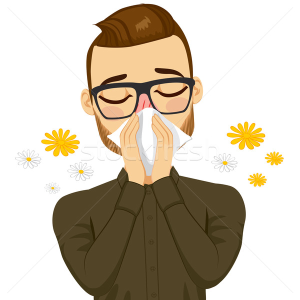 Man Suffering Spring Allergy Stock photo © Kakigori