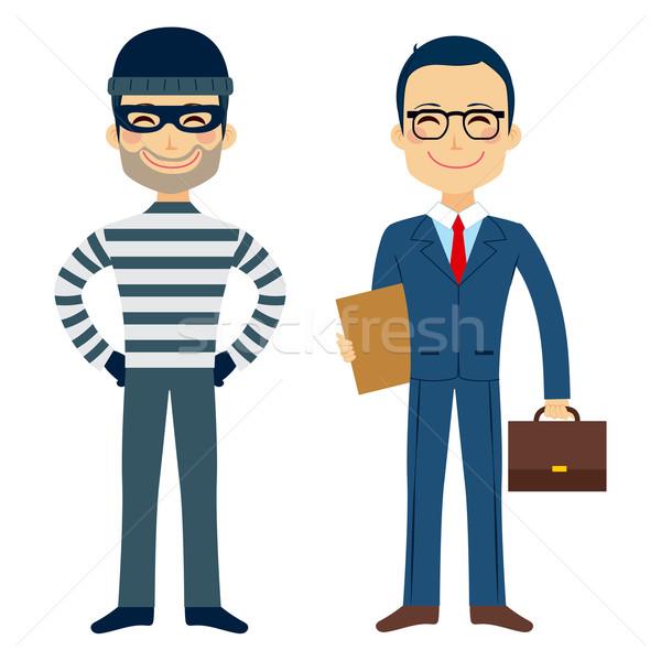 Dief advocaat gelukkig grappig cartoon Stockfoto © Kakigori